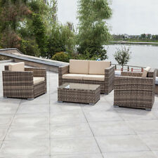 4PC Outdoor Patio Rattan Furniture Set Sectional Cushions Galvanized Steel Frame