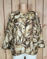 ALFRED DUNNER Womens Size 16 3/4 Sleeve Shirt Button Floral Print Sheer Top
