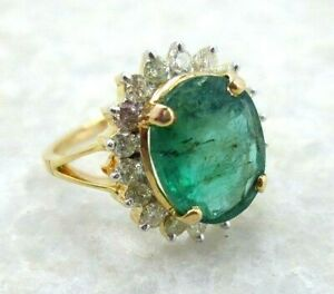 0.77ct Natural Round Diamond 14k Solid Yellow Gold Emerald Cluster Ring Size 7