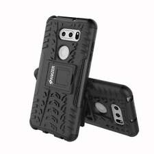 AMZER Dual Layer Hybrid Warrior Case with Stand for LG V30 Plus V35 ThinQ -Black