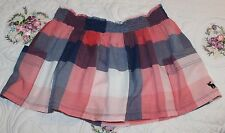 Abercrombie & Fitch Juniors XS Check Plaid Full Skirt, Navy Blue & Coral Pink