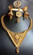 Indian Antique Gold Plated Wedding Kundan Polki Necklace Earrings Tikka Ring I