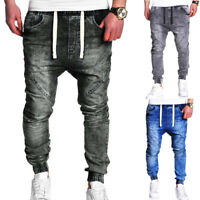 Men's Sports Denim Jeans Harem Pants Training Dance Baggy Jogger Casual Trousers