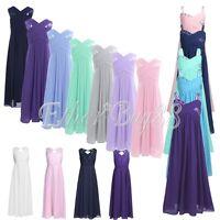 Flower Girl Chiffon Dress Princess Kid Long Party Wedding Bridesmaid Gown Prom