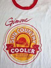 Vintage Sun Country Cooler Wine Liquor Beer Soft Thin Ringer T Shirt M