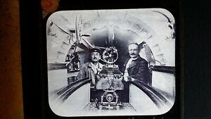 1900S ANTIQUE GLASS LANTERN SLIDE PHOTOGRAPH FRENCH SUBMARINE GOUBET II INTERIOR
