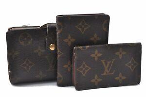Authentic Louis Vuitton Monogram Wallet Card Case Brown 3Set LV C8248