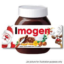 Personalised Chocolate Nutella Spread Jar LABEL Sticker CHRISTMAS XMAS Santa 99