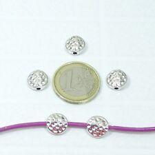 32 Abalorios Martillados 10x4mm T443X Plata Tibetana Bracelet Beads Hamered