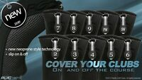 HYBRID HEAD COVERS COMPLETE 2 3 4 5 6 7 8 9 PW SW SET GOLF CLUB BLACK HEADCOVER