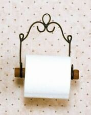 VICTORIAN STYLE TOILET TISSUE HOLDER HANGER METAL ~ WOOD ROD BATHROOM ACCESSORY
