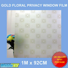 GOLD FLORAL FROSTED DECORATIVE WINDOW FILM - 92cm x 1m Roll M114