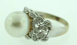 BEAUTIFUL 14K WHITE GOLD 0.34 CTS DIAMOND SOUTH SEA PEARL RING