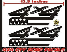4x4 Truck Bed Decals GLOSS BLACK Set for Ford Super Duty, F-250, F-150 USA Flag