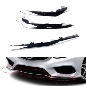 Set of 3 Chrome Molding Trim For Benz E-Class W212 E350 14-16 -Lower Bumper
