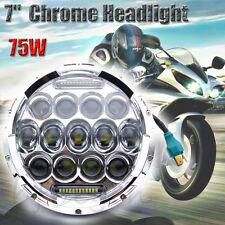 "7"" Inch Chrome 75W CREE LED Headlight DRL Hi/Lo Fr Harley 07-14 Jeep Wrangler JK"