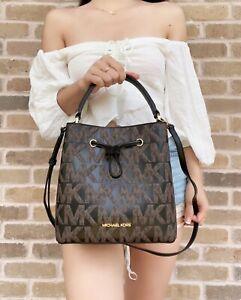 Michael Kors Suri Brown Black Signature Medium Bucket Messenger Bag Graphic Logo