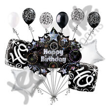 11 pc 40th Happy Birthday Balloon Decoration Party Elegant Adult Black White