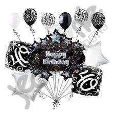 11 pc 40th Happy Birthday Balloon Decoration Party Elegant Adult Black White