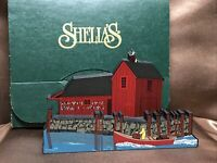 "RETIRED Shelia's Collectibles Wood ""Seaside Village"" Rockport, MA NIB"