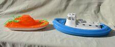 2 vintage plastic toy tub boats gay & amloid saddle brook fishing tug gunner gun