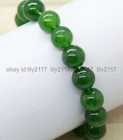AAA 10mm Fashion Drak Green Emerald Round Gemstone Beads Stretch Bracelet 7.5""
