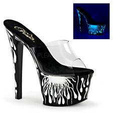 Pleaser SKY-301-5 Clear Black White Platform Slide Neon UV Open Toe High Heels
