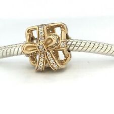 NEW Genuine Pandora 14ct Gold Charm 750839CZ All Wrapped up in Gold Present