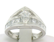 Platinum Floating Marquise & Princess Gallery 1.60ctw Diamond Engagement Ring