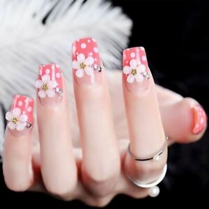 Flower Designs Artificial Press On Nails With Glue Full Tip Fingernail Extension