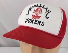 Vtg Abdallah Jokers Shriners Snapback Trucker Hat Red Cap Mesh