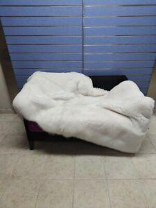 Luxury Full Skin Pure White Fox Throw Real Fur White Skin To Skin Fox Blanket