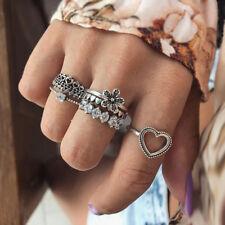 LC_ 6Pcs/Set Heart Flower Rhinestone Knuckle Finger Rings Women Jewelry Gift _GG