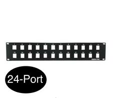 "24-Port 2U 19"" Rack Mount Blank Patch Panel Black for Cat5/Cat6 Keystone Jacks"