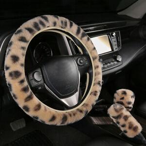 Winter Warm Rabbit Fur Cover For Car SUV Steering Wheel Gear Knob Parking Brake