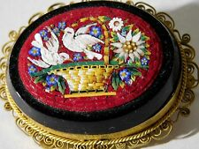 "RARE Antique VICTORIAN MICRO MOSAIC BROOCH in ONYX; ""DOVES & FLOWERS in BASKET"""