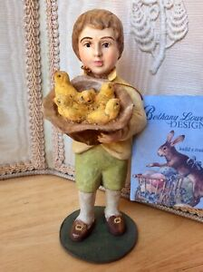 Vtg Bethany Lowe Spring Collection Figurine Country Easter Boy w/ Chicks in Hat