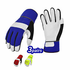 Vgo 3pairs High Dexterity Goat Leather Palm Light Duty Work Gloves Ga7673