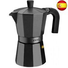 Monix Vitro Noir ? Cafetera Italiana de Aluminio, Capacidad 3 Tazas, 3 (3 tazas)