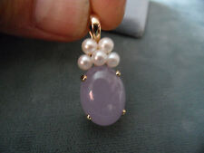 14KT Yellow Gold Lavender Jade  Cultured Pearl  Pendant