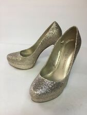 Chinese Laundry Women's Gold High Heels Size 6 Sparkly Platform Almost 5""