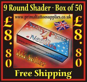 Sexy Pins Tattoo Needles 9 Round Shader  - Box of 50  - (Tattoo Supplies - Tips)