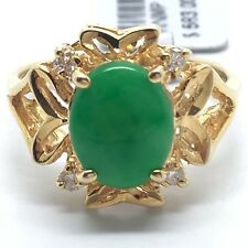 18k yellow gold diamond cut style with natural jade and diamond ring