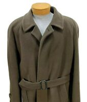 Battaglia Overcoat Wool Cashmere Blend Men's Size 42 R Green Made In Italy EUC