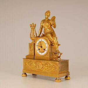 Antique French figural mantel clock mercury gilt bronze 24K Empire Napoleonic