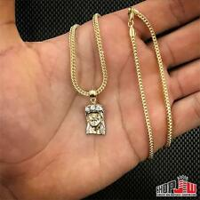 Mens Real 10k Gold Jesus Piece Pendant Charm Franco Chain Set Small Micro Bling