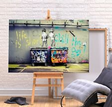 More details for banksy life is short - canvas/framed wall art picture print - green/multi colour