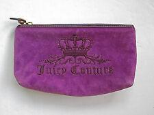 Juicy Couture purple velour crown zipper top makeup clutch bag vinyl lining