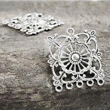 15pcs Tibetan Silver Pendant Charm Links Connector Jewelry Square 35x32x3mm