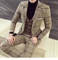 Beige Plaid Men Tweed Suit Vintage Tuxedo Prom Party Dinner Wedding Suit Custom